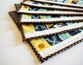Quilted Placemats - Joel Dewberry fabrics - blue grey - set of 6