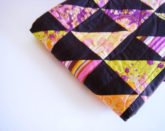 Baby quilt, girl quilt, crib quilt, patchwork quilt, playmat, baby blanket - pink purple lime orange