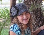 Toddler Girl Crochet Hat, Toddler Girl Crochet Beanie Grey Newsboy Custom Order Any Color or Size