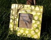 Polka Dot Frame Shabby Chic 3.5 x 3.5 Lime Green
