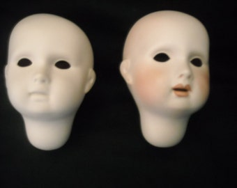 Porcelain Doll Heads Twins Boy Girl  Molds 1984