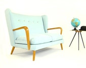 c1950 Vintage Howard Keith Wingback Sofa - HopperAndSpace.com