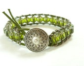 Beaded leather wrap bracelet, gorgeous olive green and silver - St. Patrick's Day jewelry, single wrap bracelet.
