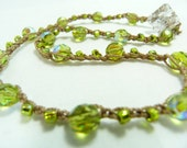 Beautiful beaded peridot green crochet necklace, ready for St. Patrick's Day. Gorgeous springtime jewelry.