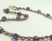 Amethyst purple crochet necklace. Gorgeous springtime jewelry.  Wear with coordinating jewelry.