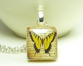 Scrabble tile pendant necklace - yellow butterfly on beige - 24 in sterling silver plated necklace.