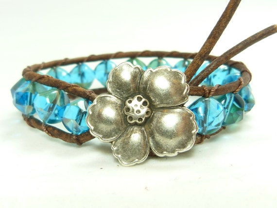 Leather and bead wrap bracelet, Caribbean blue, teal beads, flower closure, single wrap bracelet, wear alone or with others.