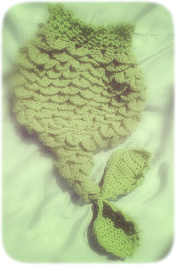 PDF Crochet Pattern Mermaid Tail - Cocoon or Tail - 0-6 Months - With Seashell Top