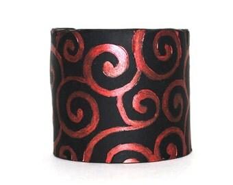 Cuff Bracelet.  Circles.  Swirls.  Black & Red.