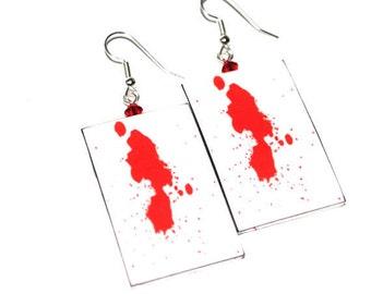 Blood Splatter.  Dexter inspired.  Red earrings.  X-Small