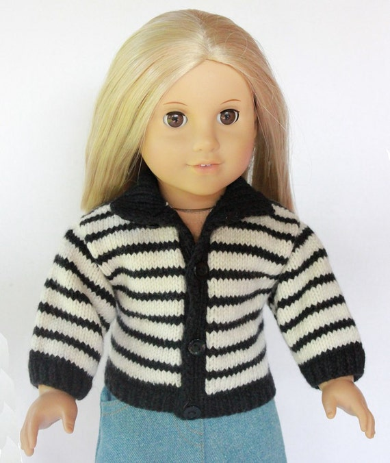 """18"""" Doll Clothes - Black and off white stripe Sweater - Can be worn 2 ways - 2 in 1"""
