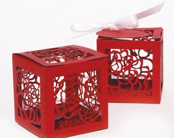 Laser cut favor box - Roses