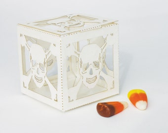 Laser cut favor box - Skull N Bones