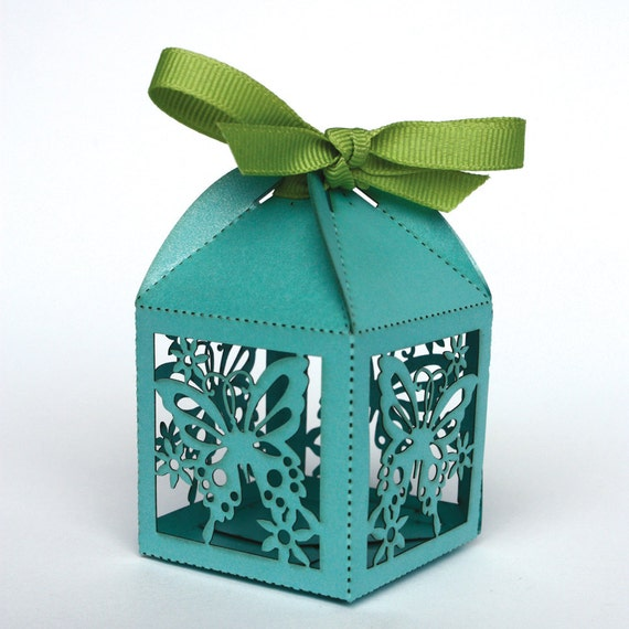 Laser cut butterfly favor box, as featured in Brides Magazine