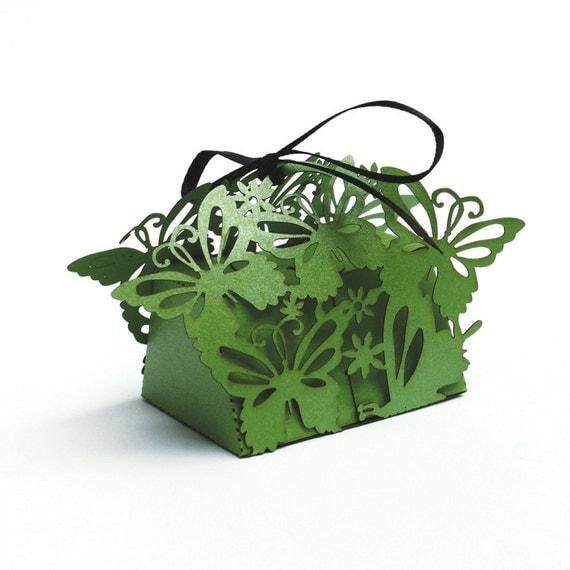 "Whimsical laser cut favor box - ""Butterflies"" (Small)"