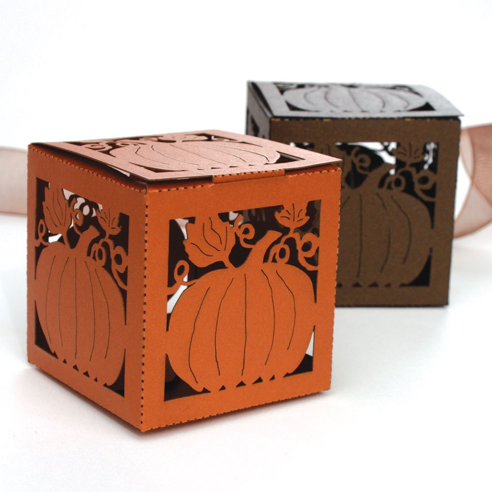 laser cut favor box pumpkin. Black Bedroom Furniture Sets. Home Design Ideas