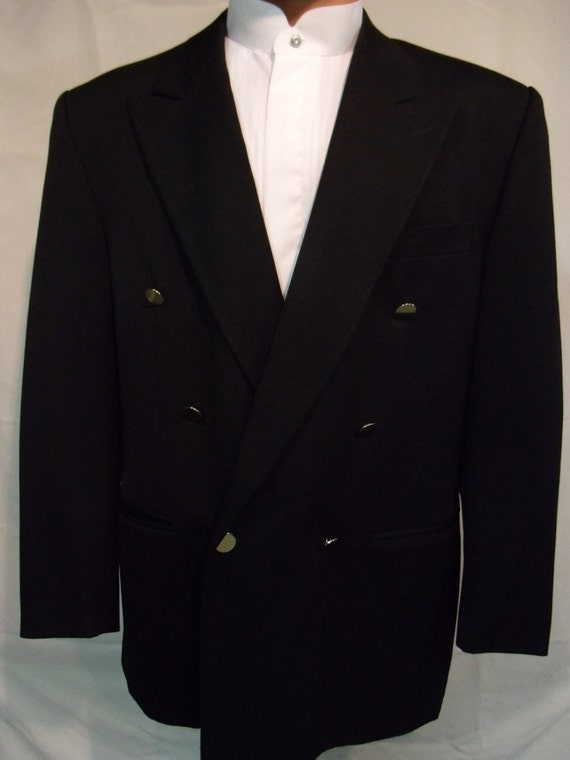 Vintage Mens Black Double Breasted Wool Blazer Jacket Sport Coat Pointed Lapel 1970s