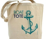 Anchor Boat Tote - Custom 100% Cotton Canvas Tote Bag - FREE SHIPPING With Coupon Code