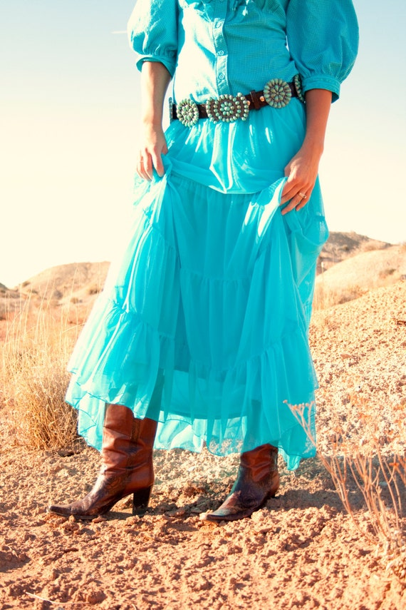 Handmade cowgirl Country Western Turquoise flowing long sheer mesh skirt