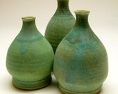 Three Small Bottle Vases with Ancient Copper Glaze