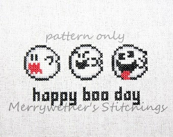 Super Mario - Halloween - Happy Boo Day - Cross Stitch PATTERN
