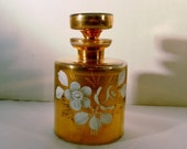 Vintage Gold Applique with White Hand Painted Flowers Possible Irice Czech Blown Glass Perfume Bottle