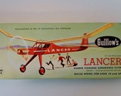 Vintage 1966 Guillows Lancer Balsa Wood Model Airplane in Box. Complete Kit No. 604