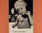 Vintage Framed 1940's Bell Telephone Company Ad, Bell Mascot. Little Boy Wants to Call GrandPop.