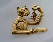 Vintage Goldtone Bowtie Cat Dining on a Mouse or Something Like That... Articulated Brooch Pin Signed A.J.C.