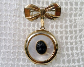 Vintage 2 Piece Cameo on Mother of Pearl Inlay Signed Coro Goldtone Locket Brooch Pin.  Free Ship.