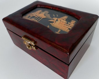 Vintage Small Asian Lacquer Box Carved Cork Under Glass.  Brass Hinges, Red Cushion Interior.