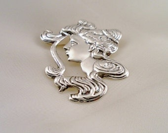 Vintage Sterling Silver Art Noveau Styled Protrait Profile. Finely Crafted Brooch Pin. Signed 925