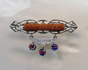Victorian Goldstone and Rainbow Crystals.  Openback Scroll Silvertone Metal.  Colorado Travel Souvenir Brooch Pin.