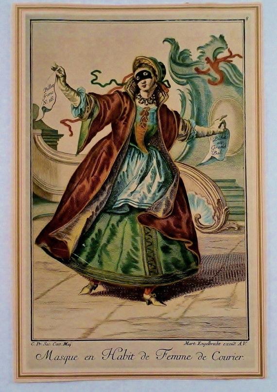 Antique 1700c Martin Engelbrecht Copper Plate Hand Color Engraving.  Masque en Habit de Femme de Courier