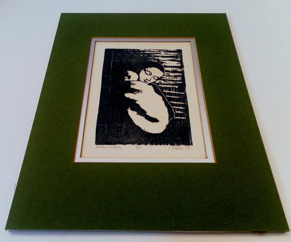 1970 Mother & Baby Linoleum Cut or Wood Block Print Matted. 1 of 15 Artist Signed