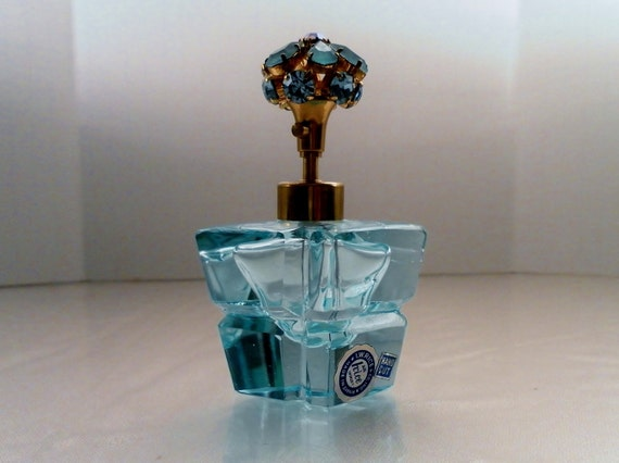 Vintage I.W. Irice Hand Cut Glass Pale Blue w Crystal Flower Top Atomizer Perfume Bottle. Signed Stickers.