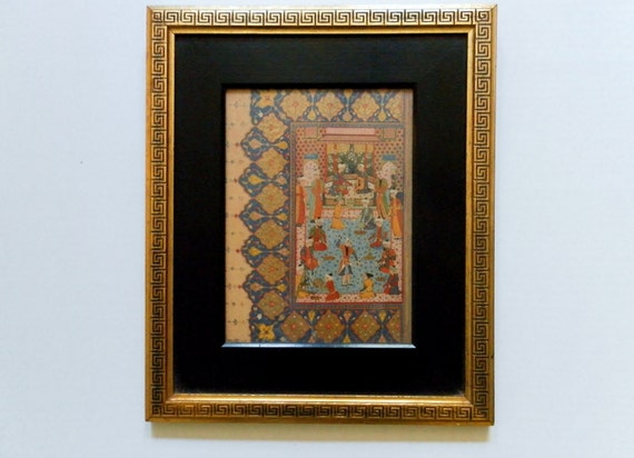 Vintage Framed Persian Miniature -  Rudolf Lesch Fine Arts, Inc. Reproduction of Mughal Royal Court Scene.