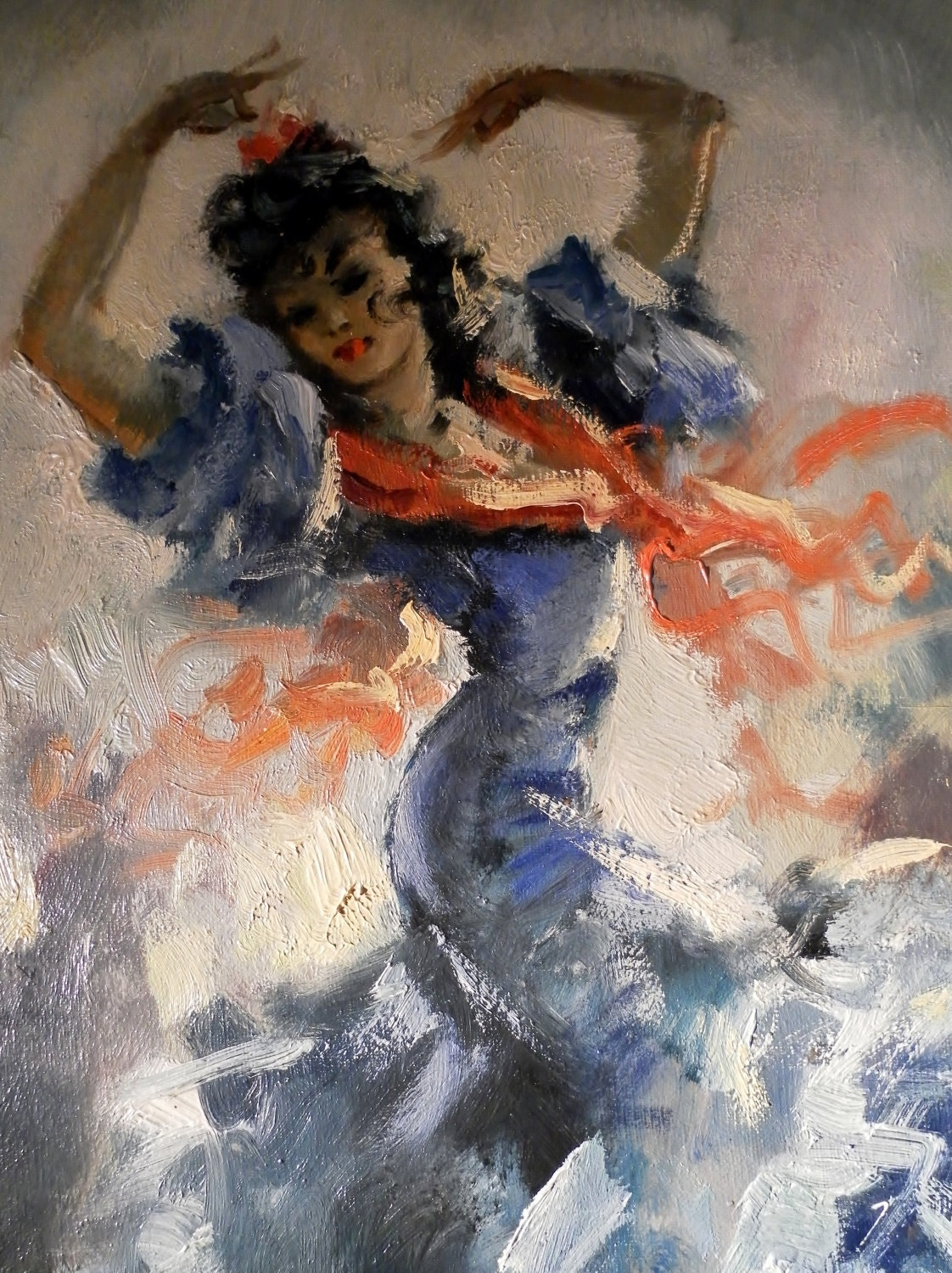 Vintage Flamenco Dancer French Oil Painting On Canvas Signed