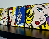 Hand Painted Tribute to Roy Lichtenstein POP Art. 3 8x10 Acrylic on Canvas Reproductions