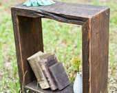 Rustic End Table Made From Reclaimed Wood and Hand Forged Nails