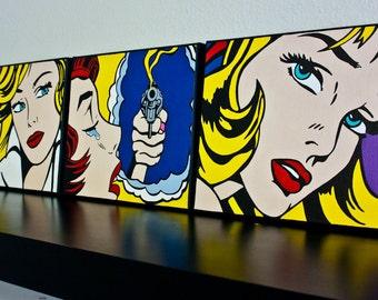 Hand Painted POP Art. 3 8x10 Acrylic on Canvas