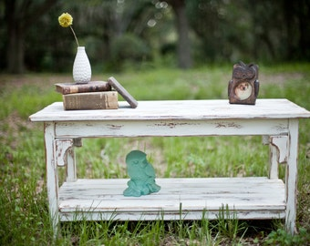 Rustic White and Brown Coffee Table Made From Reclaimed Wood