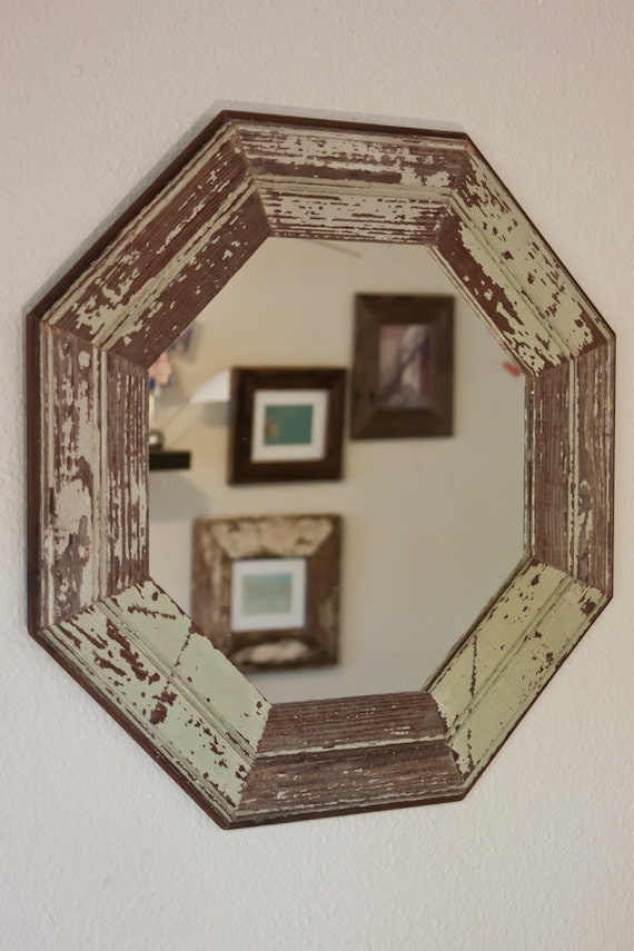 21 inch Octagon Mirror made from Old Light Sage and White Reclaimed Hardwood Flooring