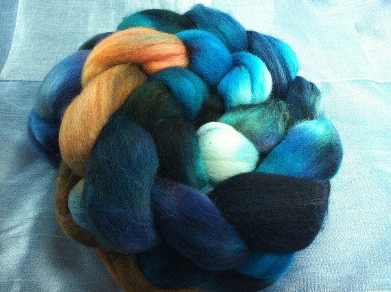 Hand Dyed Polwarth Wool Roving Combed Top Spinning Fiber  -  4oz - PW007