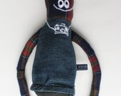 puppet ragdoll/ kroepie long arms made from recycled fabric