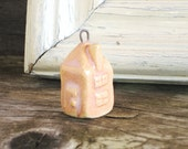 Tiny House Pendent Pink Ceramic Little Small Country Cottage Jewelry Charm