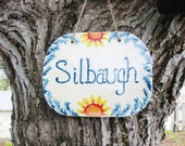 Custom Family Name Sign - Hand Painted Outdoor Ceramic Hanging Tile - Last Name Personalized - Botanical Flower OOAK - Made to Order