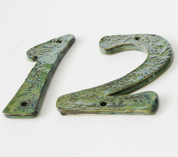 House Numbers Sign - Set of 2 - Ceramic Letters - Leaf Texture Blue Green - Country Cottage - Made to Order