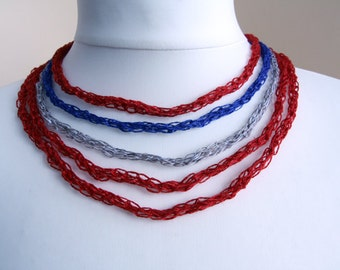 Knitted linen necklace  Discount 25%