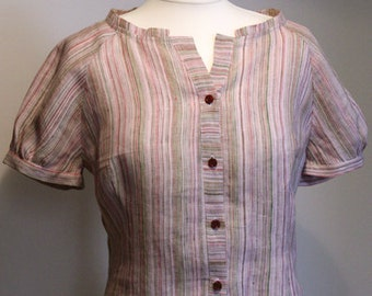 Summer stripy linen shirt blouse    natural